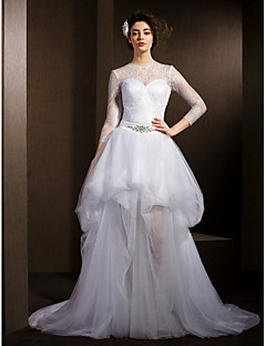 Lanting Bride A-line Petite / Plus Sizes Wedding Dress-Court Train Jewel Lace / Tulle
