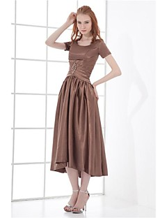 Formal Evening Dress - As Picture A-line Jewel Tea-length Taffeta