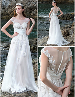 Lanting A-line Wedding Dress - Ivory Court Train Scoop Chiffon/Stretch Satin