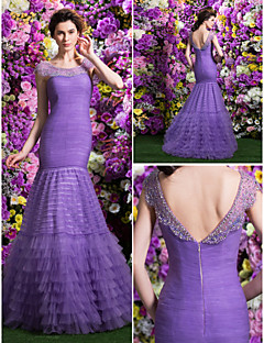 ts-Couture-Abschlussball / Abendkleid - Flieder / Lavendel fit& Flare scoop Sweep / Pinsel Zug Tüll