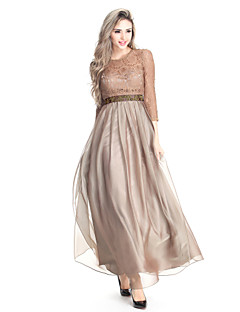 Formal Evening Dress - Brown Plus Sizes / Petite A-line Jewel Floor-length Chiffon / Lace
