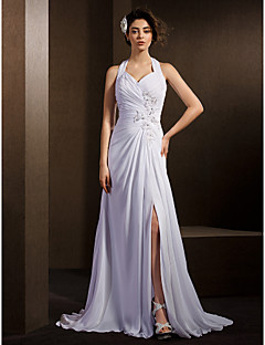 LAN TING BRIDE A-line Wedding Dress Simply Sublime Court Train Halter Chiffon with Criss-Cross Ruche Appliques Beading Bow
