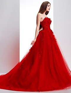 Formal Evening Dress - Ruby Petite Ball Gown Strapless / Scalloped Sweep/Brush Train Lace / Tulle
