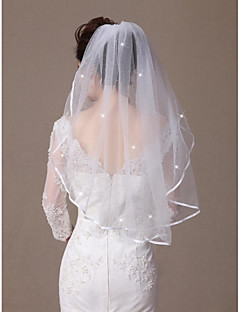 One-tier Elbow Veils  Ribbon Edge  Scatter Crystals with Comb Made of Softest Net