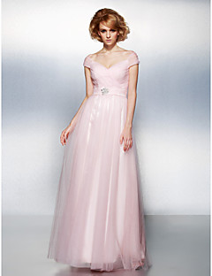 A-line/Princess Off-the-shoulder Floor-length Tulle Evening Dress (2174253)