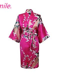 Women Chinese Silk Floral Peacock Sleepwear Robes Bathrobe Pajamas China Size M L XL XXL XXXL Free Shipping