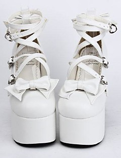 White PU Leather  12.5CM High Heel Sweet Lolita Shoes With Row