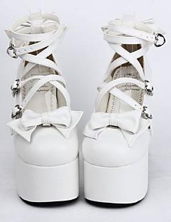 wit pu leer 12,5 cm hoge hak zoete lolita schoenen met rij