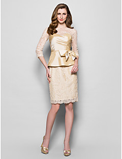 Lanting Sheath/Column Plus Sizes / Petite Mother of the Bride Dress - Champagne Knee-length 3/4 Length Sleeve Lace / Taffeta