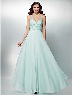 Formeller Abend Kleid - Wie Bild Chiffon - A-Linie - bodenlang - Herz-Ausschnitt