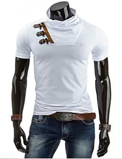 Pánské Jednobarevné Denní nošení Krátký rukáv Směs bavlny Triko-Černá / Bílá