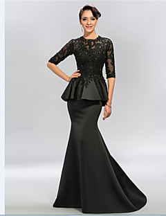 Trumpet/Mermaid Plus Sizes / Petite Mother of the Bride Dress - Black Sweep/Brush Train Half Sleeve Satin / Lace