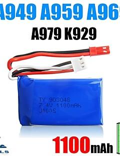 2pcs/pack 7.4v 1100mAh Lipo JST WLtoys Battery for A949 A959 A969 A979 k929辆Original High-speed Car Batteries