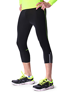 Men's Spandex Quick Dry Night Reflective Sports Running Compression Tight Capri Pants