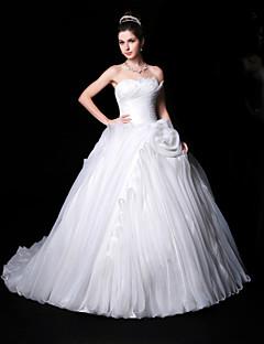 Свадебное платье - Белый Пышное платье В виде сердца С длинным шлейфом Органза/Шармез