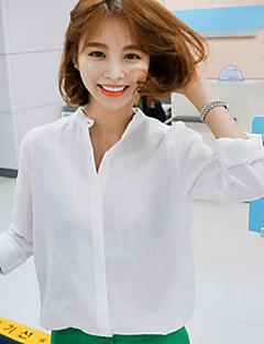 Women's Casual Micro-elastic Long Sleeve Regular Shirt (Cotton Blends)