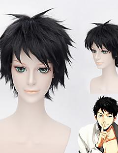 Cosplay Wigs Free! Cosplay Black Short Anime Cosplay Wigs 30 CM Heat Resistant Fiber Male / Female