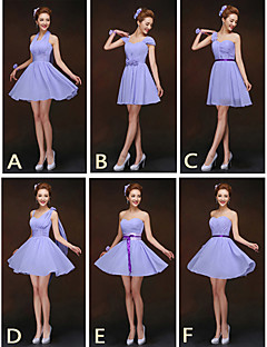Short / Mini Bridesmaid Dress - Lace-up Sheath / Column Halter / One Shoulder / Sweetheart / Straps with Sash / Ribbon