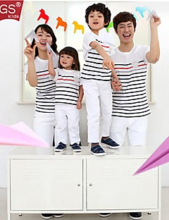 CCGS®Family's Fashion Joker Leisure Parent Child Long Sleeved Love Stripe T Shirt Parentage Clothing