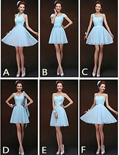 mix& match kjoler kort / mini chiffon 6 stilarter brudepige kjoler (2.840.136)