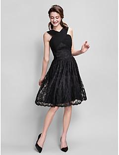 Lanting Knee-length Lace Bridesmaid Dress - Black Plus Sizes / Petite A-line V-neck