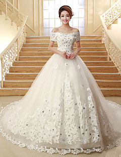 Ball Gown Wedding Dress - Classic & Timeless Lacy Look Chapel Train Off-the-shoulder Tulle with Beading Appliques Sequin