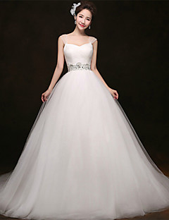 A-line Court Train Wedding Dress -Straps Tulle