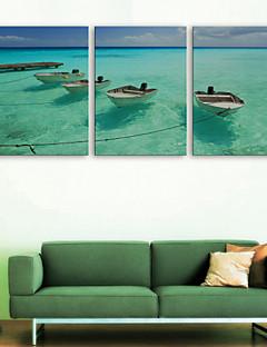 E-Home® Leinwand bist das Meer Schiff dekorative Malerei Set von 3