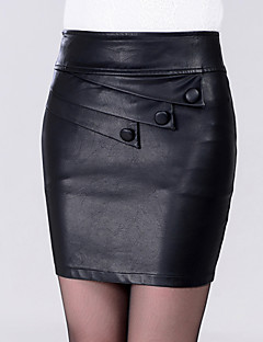 Damer Sexet Over Knæet Nederdele BodyconEnsfarvet