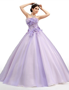 Formal Evening Dress - Lavender Petite Ball Gown Strapless Floor-length Organza / Tulle / Charmeuse