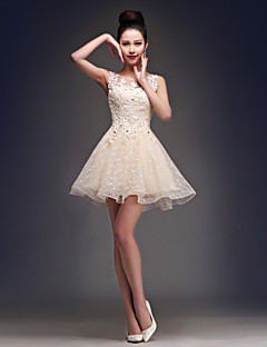 A-Line Scoop Neck Short / Mini Satin Tulle Party Dress with Beading
