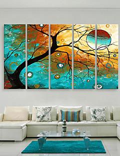 e-Home® opgespannen doek zijt de kleurrijke boom decoratief schilderen set van 5
