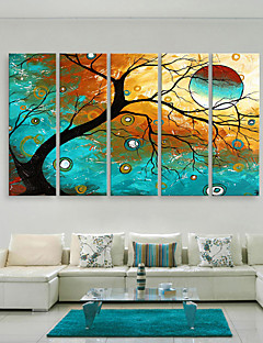 E-home® tuval 5 renkli ağaç dekoratif boyama seti sanat gergin
