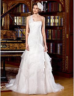 웨딩 드레스 - 아이보리(색상은 모니터에 따라 다를 수 있음) 트럼펫/멀메이드 쿼트 트레인 원 숄더 튤