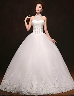 웨딩 드레스 - 화이트 볼 가운 바닥 길이 하이넥 튤