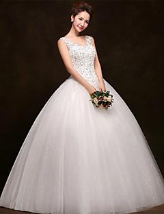 Vestido de Noiva - Branco Baile U Profundo Comprido Tule