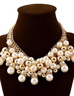 Femme Colliers Déclaration Balle Perle Imitation Diamant Alliage Mode Européen Bijoux de Luxe Bijoux Fantaisie Multicouches Elegant Bijoux