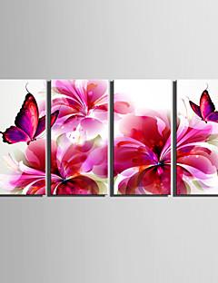 e-Home® sträckt duk konst röd fjäril och blommor dekoration målning uppsättning av 4