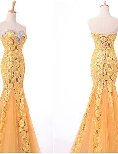 Formal Evening Dress - Ruby/Ivory/Yellow/Candy Pink Trumpet/Mermaid Sweetheart Floor-length Lace