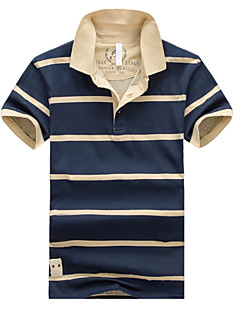 Men's Short Sleeve Polo , Cotton Casual/Work/Formal Striped
