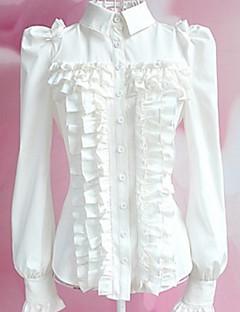 Blouse/Shirt Schattig Lolita Cosplay Lolita Jurken Wit Zwart Effen Lange Mouw Lolita Voor Dames Polyester
