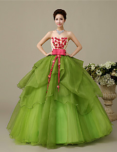 Fiesta formal Vestido - Verde Trébol Corte Evasé Hasta el Suelo - Escote Corazón Organza Tallas grandes / Tallas pequeñas