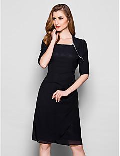 여성 숄 볼레로 반 소매 쉬폰 블랙 웨딩 / 파티/이브닝 넓은 칼라 39cm 구슬장식 오픈 프론트