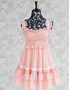 Sleeveless Short Pink Polyester Sweet Lolita Dress