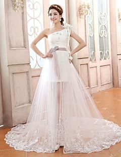 plášť / sloupec soud vlak svatební šaty onu rameno satén