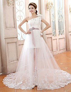 Vestido de Boda - Blanco Corte Columna Tribunal - Un Hombro Satén/Tul