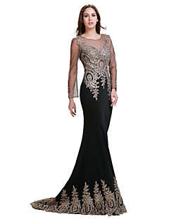 Formal Evening Dress - Black Trumpet/Mermaid Jewel Floor-length Spandex/Jersey