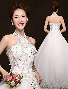 A-line Floor-length Wedding Dress -Halter Tulle