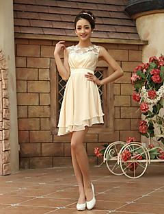 Brautjungfernkleid - Champagner Chiffon - Etui-Linie - asymmetrisch - Juwel-Ausschnitt