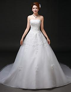 Vestido de Boda - Blanco Corte en A Capilla - Sin Tirantes Tul